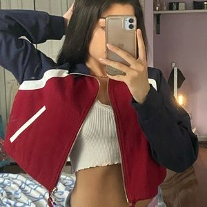 NWOT forever 21 red white and blue zip up